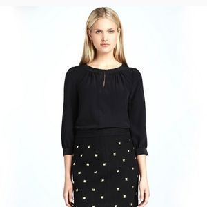 Kate Spade Black Silk Blouse With Gold Details